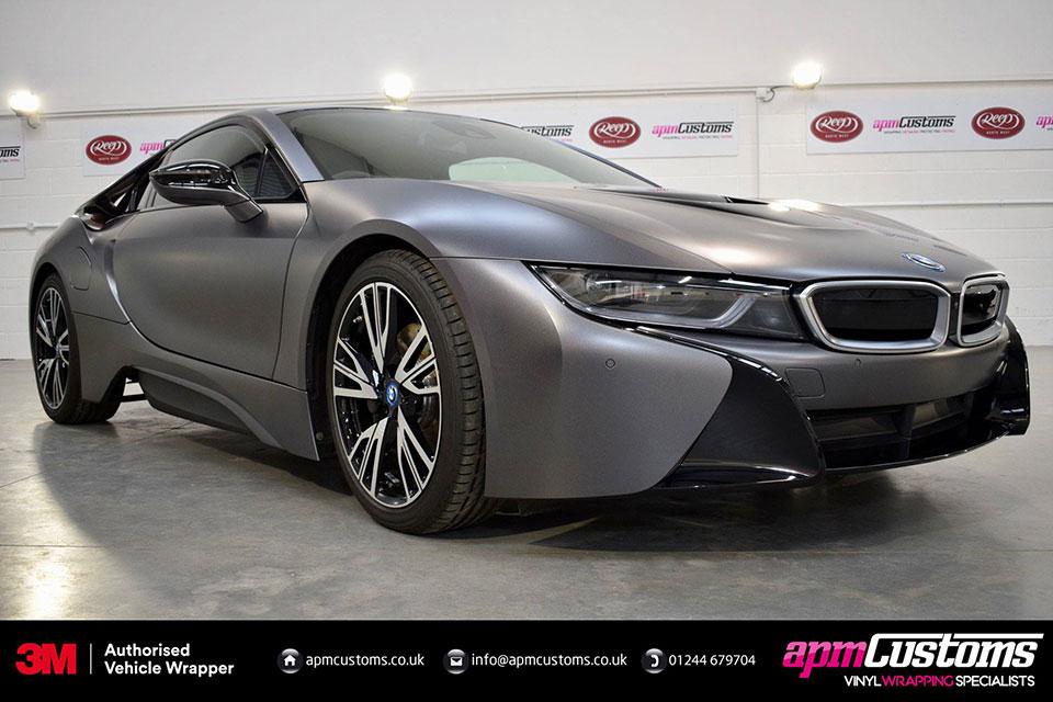 Wrapped Satin Grey BMW i8 by APM Customs