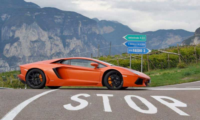 road trip europe with slap adventures, lamborghini aventador, dolomites, italy