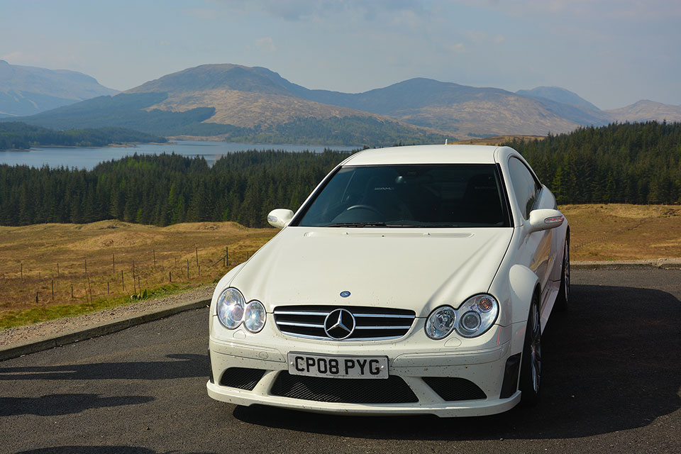 White Mercedes Benz CLK Black Series - Road Trip to Scotland with Slap Adventures