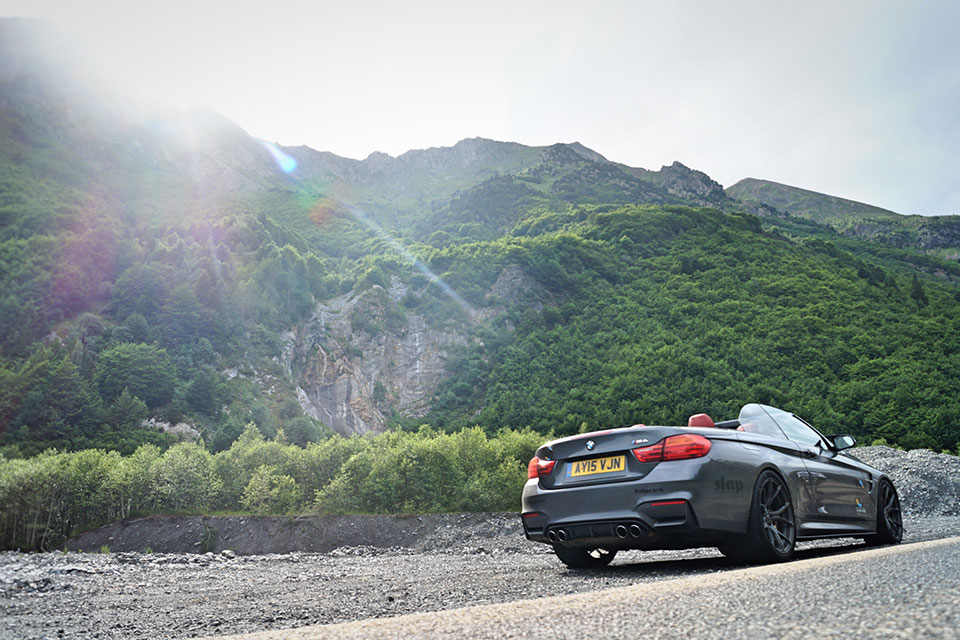 Grey BMW M4 in the French Alps