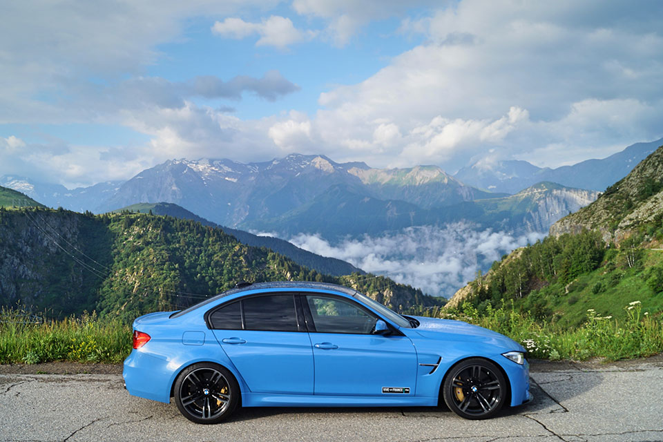 Yas Marina Blue BMW M3 in the French Alps on Slap adventures