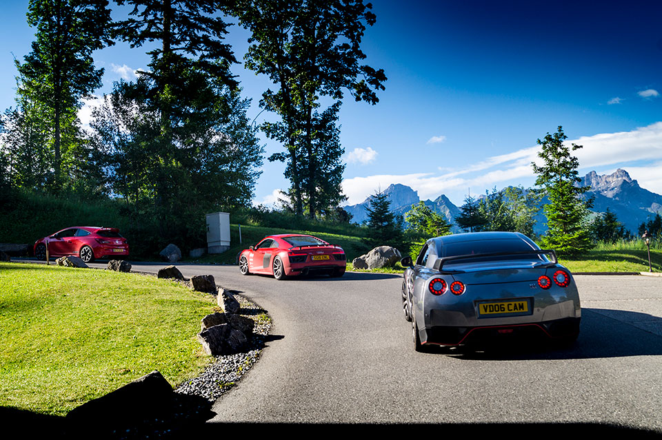 950bhp Grey Nissan GTR in the French Alps