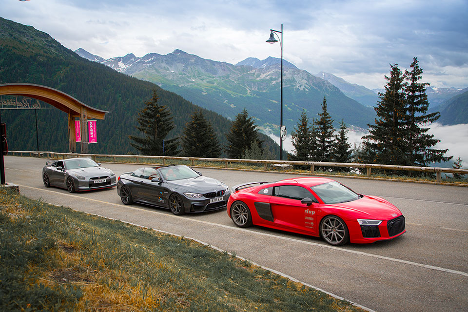 Audi R8 V10, BMW M3, Nissan GTR, Car Rally Europe