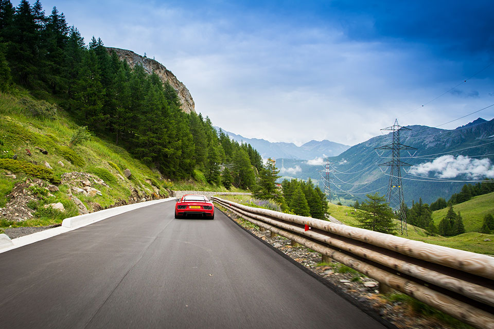Red Audi R8 V10 Plus in the French Alps