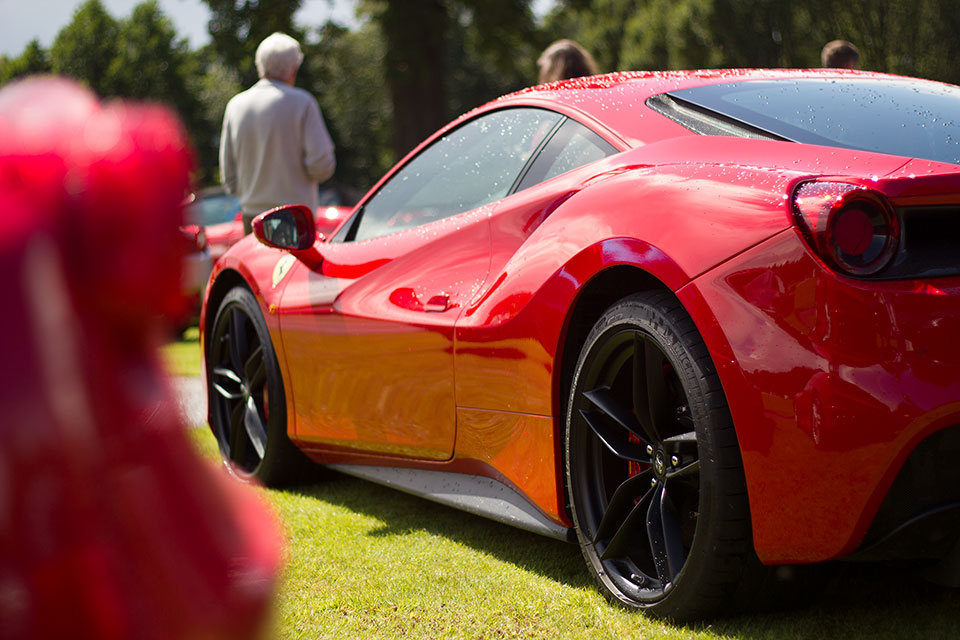 Red Ferrari 488 at Capesthorne Hall Cheshire