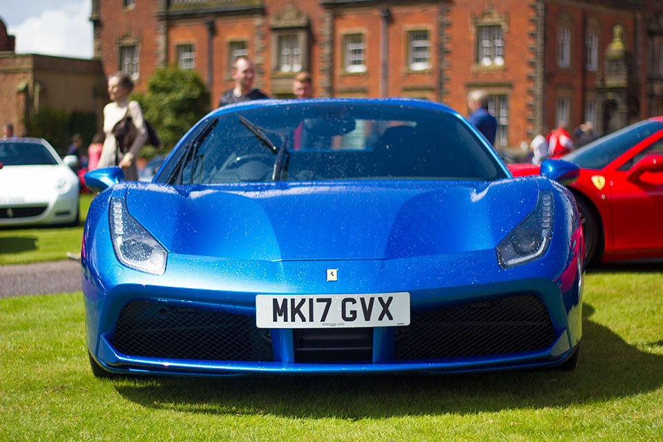 Blue Ferrari 488 at Capesthorne Hall Cheshire