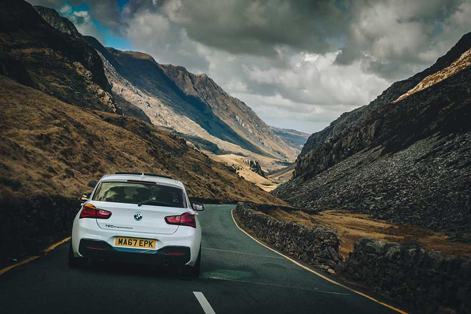 BMW Drive Day, Road Trip Wales, White BMW M140i