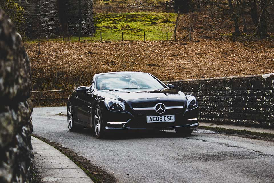 Black Mercedes SL350, Drive Day at Elan Valley in Wales