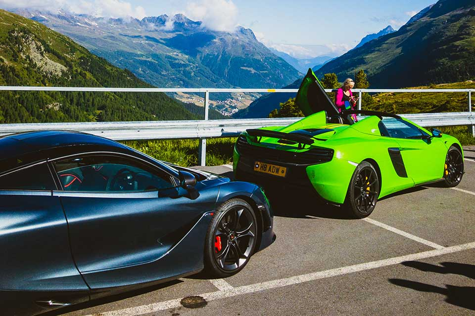 Grey Mclaren 720s, Green Mclaren 650s - Luxury Driving Holiday Europe