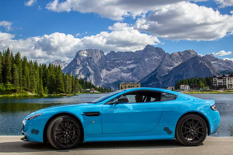 Blue Aston Martin Vantage S - Luxury Driving Holiday Europe