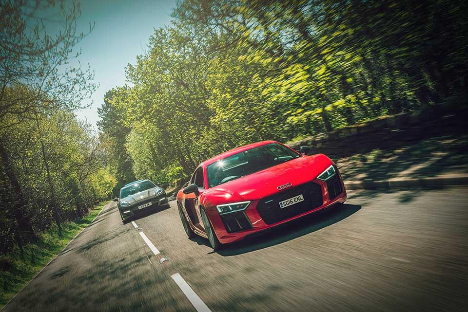 Red Audi R8 V10 Plus