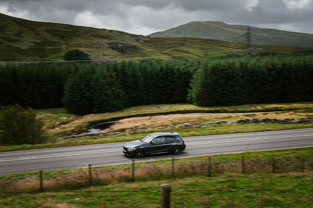 Grey BMW M135i Slap Adventures Drive Day North Wales
